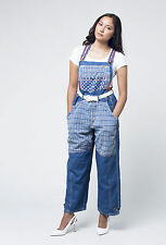 80s Vintage patchwork denim dungarees - Size 8 to 10