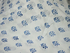 Hand Printed Fabric Block Print cotton Fabric in blue fabric for summer dresses