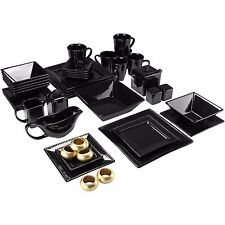 Beaded Dinnerware Set Black Square Kitchen Banquet 45 Piece Plates Cups Dishes