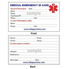 Emergency Medical ID Wallet Card for Medical Alert Bracelets and Necklaces