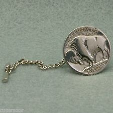 Tie Tack Pin Chain, Buffalo Bison Nickel Vintage Coin USA 5 Cents