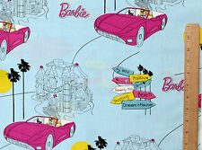 BARBIE DOLL MATTEL LICENSED 100% COTTON FABRIC  SHOPPING MALIBU FASHION  YARDAGE
