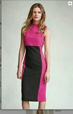 BEAUTIFUL NEXT COLOUR BLOCK PINK  BLACK TAILORED DRESS SIZE 14 PETITE  NEW