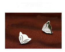 925 Sterling Silver Plated Fox Stud Earrings Butterfly Back Ladys Girls Gift