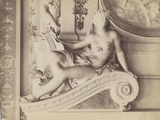 ALBUMEN PRINT, MOUNTED TO LINEN, IMAGE OF STATUE OF WOMAN HOLDING A HARP.