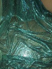 "1 MTR NEW GREEN/TURQOISE ALL OVER SEQUIN TULLE FABRIC..58"" WIDE £9.99"