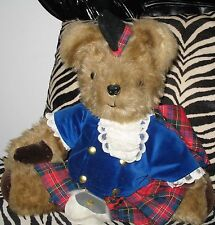 "Scottish soft Plush 16"" Bear w/ authentic garb from Scotland Made in UK 1980's"
