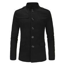 Mens Casual Stand Collar Blazer Coat Single Breasted Formal Business Tops Jacket