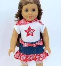 Lovvbugg 4 pcs Western Red Star Cowgirl Skirt Set for American Girl Doll Clothes