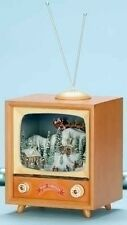 RETRO TV WITH SANTA FLYING OVER SNOWY TOWN, MANY CHRISTMAS SONGS,MUSIC BOX - NEW