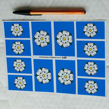 Rally Flag Sticker decal Set. 8+4 Yorkshire White Rose Race racing rallying .