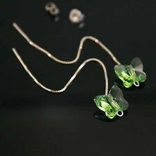 Green Butterfly Crystal 925 Silver Earrings Threader Genuine Swarovski Elements