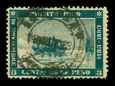 PUERTO RICO 1893  COLUMBUS landing 400th Anniversary  3c green  Sc# 133 used VF