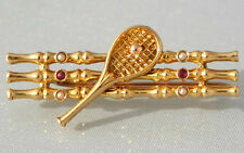Superb Antique Art Deco 18ct Gold Pearl & Ruby Tennis Racket & Net Brooch c1915