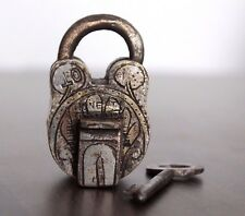Antique Beautiful Hand Engraved Nickle Polish HONEST Mark ALIGARH Brass Pad lock