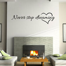 Never Stop Dreaming Wall Craft Kitchen Livingroom Home Decor Wall Sticker