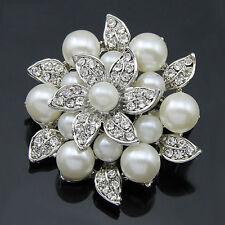 Elegant Big Pearl Flower Rhinestone Brooch Women Wedding Bouquet Decor Brooches