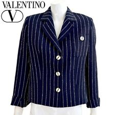 Designer VINTAGE VALENTINO MISS V Navy Pin Striped Jacket Size Medium