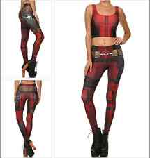 Women Movie Game lady Deadpool Cosplay Skinny Stretch Fitness Pants Leggings