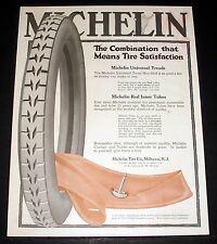 1917 OLD MAGAZINE PRINT AD, MICHELIN TIRE & TUBE COMBINATION MEANS SATISFACTION!