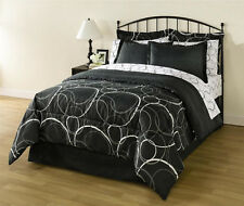 White Black Gray Circles Geometric 8 piece Comforter Bedding Set Full Size