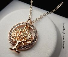 Adorable Rose Gold Rhinestone Ring & Chain Tree Of Life Necklace 56cm