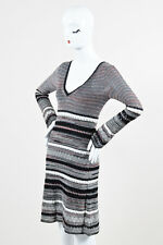 M Missoni Black White Metallic Silver Knit Long Sleeve V Neck Dress SZ 42