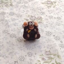 Monkey Anillo Cheeky Ajustable Artesanal Retro Lindo Goth Emo