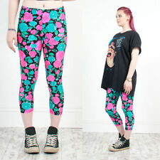 VINTAGE 90'S FLORAL PATTERNED HIGH WAIST SHINY LYCRA 3/4 LEGGINGS GYM 8 10