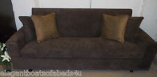 BROWN CORD SOFA BED 4 SEATER 204cm STORAGE CHENILLE CLICK CLACK ASSEMBLED SOLID