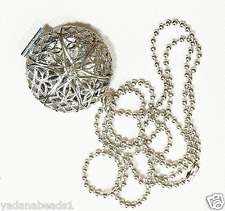 Antique silver filigree  flat round  locket with iron ball chain