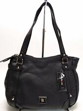 NWT Style&Co Buckle Cargo Satchel Bag Black W/2Zip Compartments