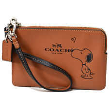 NWT Coach X Peanuts Snoopy Leather Corner Zip Wristlet 65193 Silver/Saddle Brown