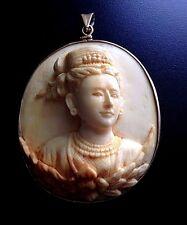 Fine Huge Antique Victorian Cameo Pendant/ Buckle 10k Gold