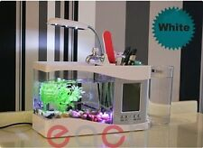 Usb desktop aquarium Mini fish tank water pump light calendar alarm clock White