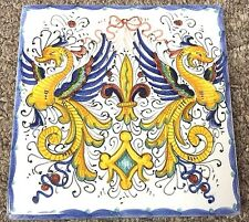 Deruta Pottery-5x5 Inch Tile Raffaellesco-Made/painted by hand In Italy.