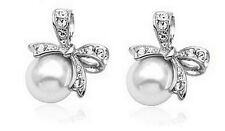 Elegant Bridal Silver Bow Knot White Pearl Earrings Studs E639