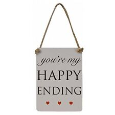 "Mini Wedding & Engagement ""You're my Happy Ending"" Metal Sign/Plaque 9x6cm"