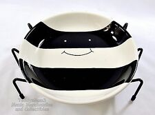 Halloween Spider Bowl Treat Candy Appetizer Dish 6 Wire Legs Black White Ceramic