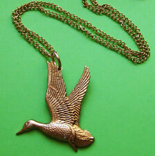 VINTAGE FLYING DUCK COLLANA CIONDOLO IN OTTONE ORO UCCELLO ciondolo catena ALI FLY LOVE