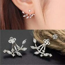 Fashion Womens Gold Plated Leaf Crystal Ear Jacket Double Sided Ear Stud Earring