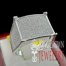 White Gold Finish Mens Round Cut Diamond Pave Designer Pinky Band Ring 0.50 Ct