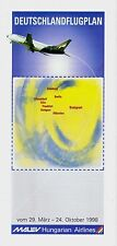 Malev Hungarian Airlines Germany Timetable  March 29, 1998 =