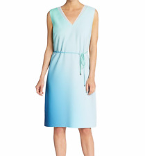 NEW Elie Tahari Dress Large White Blue Green Perla Ombre Watercolor NWT $398