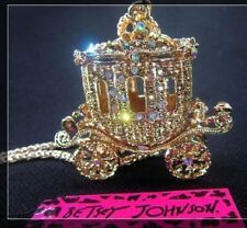 Betsey Johnson Bling Princess Carriage Car Pendant Long Necklace