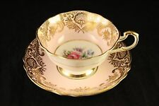 Vtg Paragon Fine Bone China Pink +Fancy Gold Gilding Floral Tea-Cup & Saucer Set
