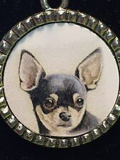 """Dog Chihuahua Black Charm Tibetan Silver with 18"""" Necklace D3"""