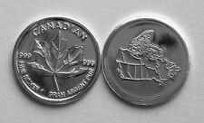 (10) 1 GRAM 0.999+ PURE SILVER ROUND CANADIAN MAPLE LEAF 2014