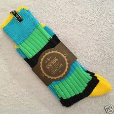 MENS PAIR JAZZY TWO SOCKS BLUE GREEN BLACK MED UK SIZE 6-9 STRIPED COTTON SOCKS