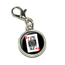 Playing Cards Queen of Hearts - Antiqued Bracelet Charm with Lobster Clasp
